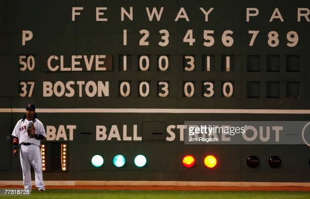 Manny Ramirez of the Boston Red Sox stands in left field during Game Two of the American League Championship Series against the Cleveland Indians at...