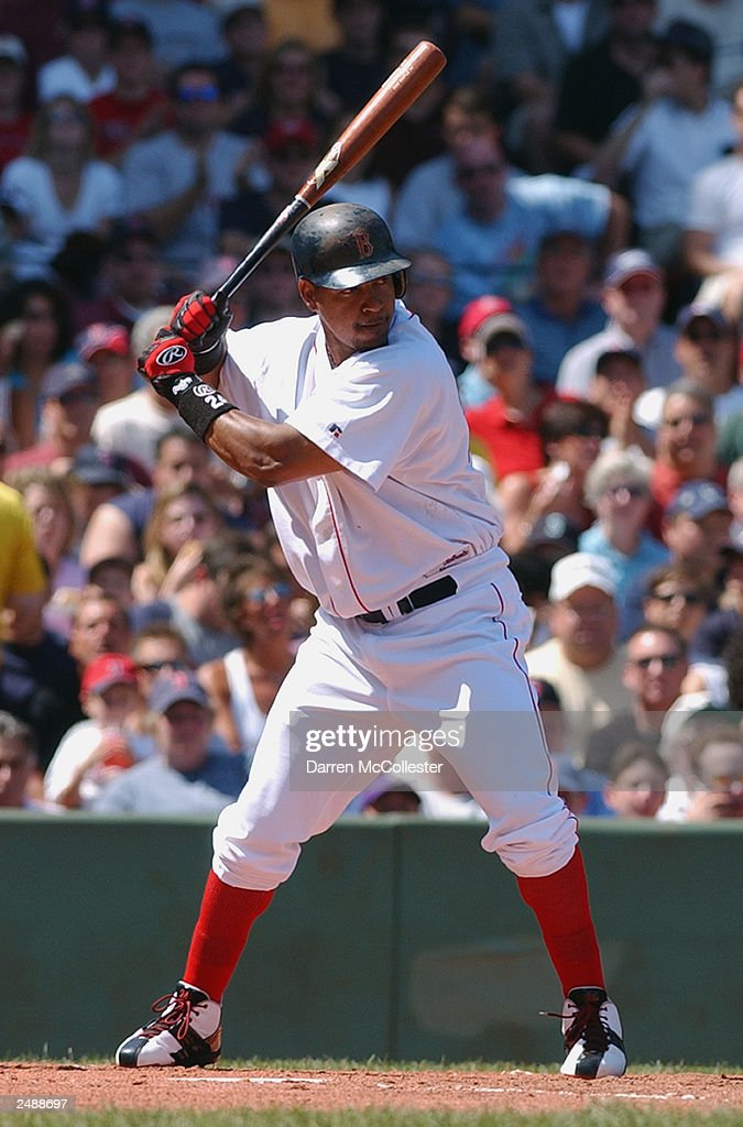 Manny Ramirez #24 of the Boston Red Sox stands ready at bat during the MLB game against the Seattle Mariners at Fenway Park August 23, 2003 in Boston, Massachusetts The Red Sox defeated the Mariners 7-6.