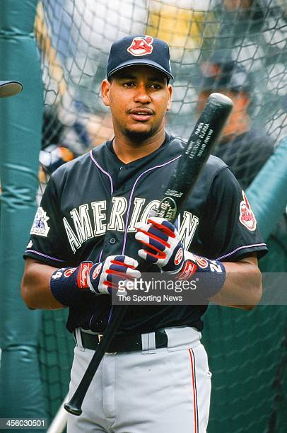 Manny Ramirez of the Cleveland Indians during the All-Star Game on July 7, 1998 at Coors Field in Denver, Colorado.