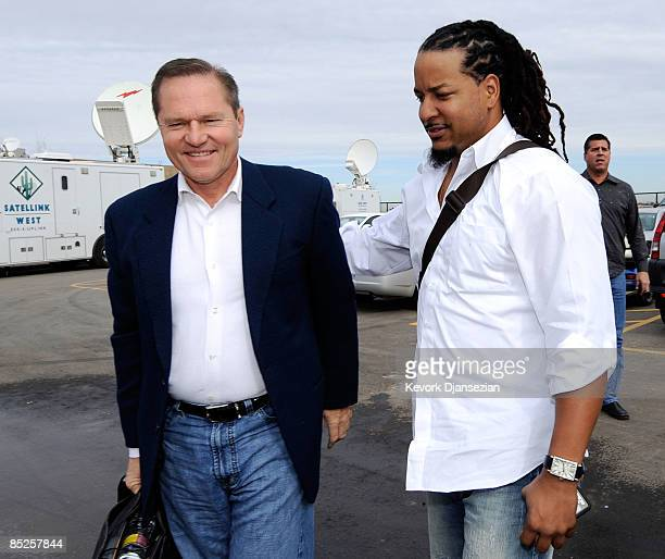 Manny Ramirez of the Los Angeles Dodgers arrives from Los Angeles with agent Scott Boras on March 5 at Camelback Ranch in Glendale Arizona Ramirez...