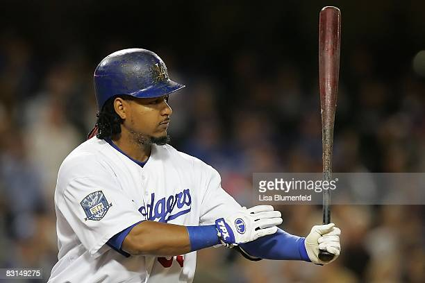 Manny Ramirez of the Los Angeles Dodgers at bat against the Chicago Cubs during Game Three of the NLDS during the 2008 MLB playoffs on October 4 2008...