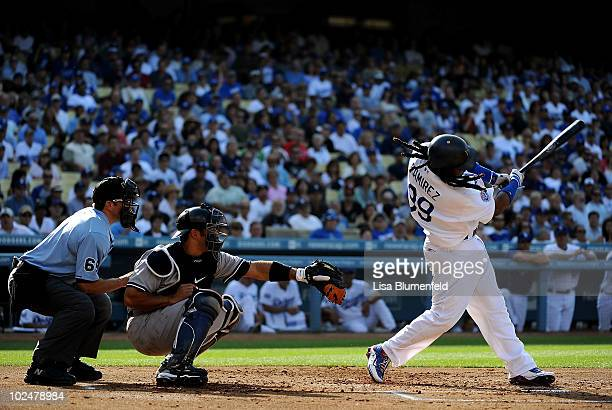 Manny Ramirez of the Los Angeles Dodgers at bat against the New York Yankees at Dodger Stadium on June 27 2010 in Los Angeles California