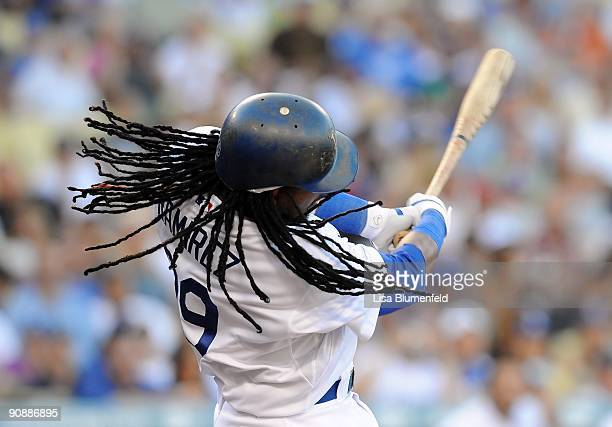 Manny Ramirez of the Los Angeles Dodgers at bat against the San Diego Padres at Dodger Stadium on September 6 2009 in Los Angeles California