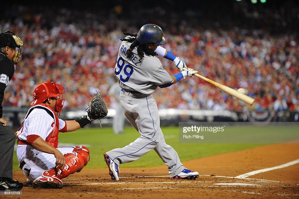 Manny Ramirez of the Los Angeles Dodgers bats during Game Five of the National League Championship Series (NLCS) against the Philadelphia Phillies at Citizens Bank Park in Philadelphia, Pennsylvania on October 21, 2009. The Phillies defeated the Dodgers 10-4.