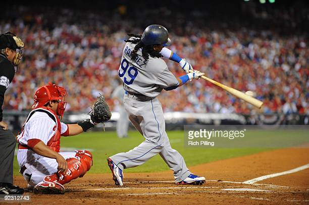 Manny Ramirez of the Los Angeles Dodgers bats during Game Five of the National League Championship Series against the Philadelphia Phillies at...