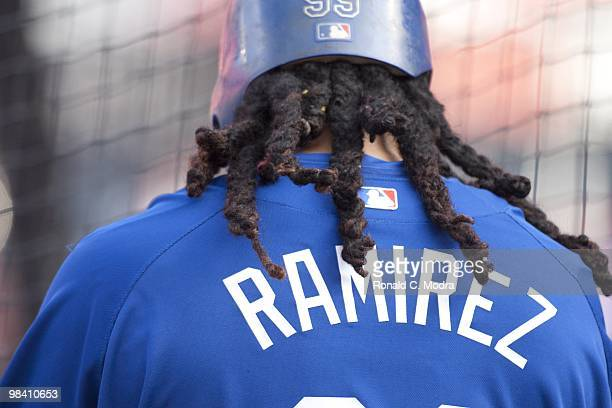 Manny Ramirez of the Los Angeles Dodgers during batting practice before a MLB game against the Florida Marlins at Sun Life Stadium on April 9 2010 in...