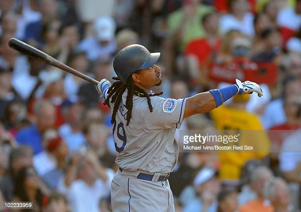 Manny Ramirez of the Los Angeles Dodgers hits a home run against the Boston Red Sox in the sixth inning on June 19 2010 at Fenway Park in Boston...