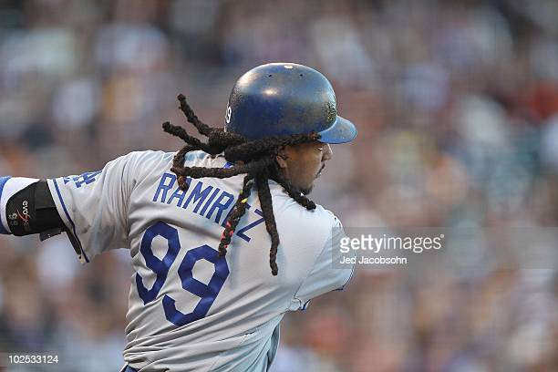 Manny Ramirez of the Los Angeles Dodgers in action against the San Francisco Giants during an MLB game at ATT Park on June 28 2010 in San Francisco...