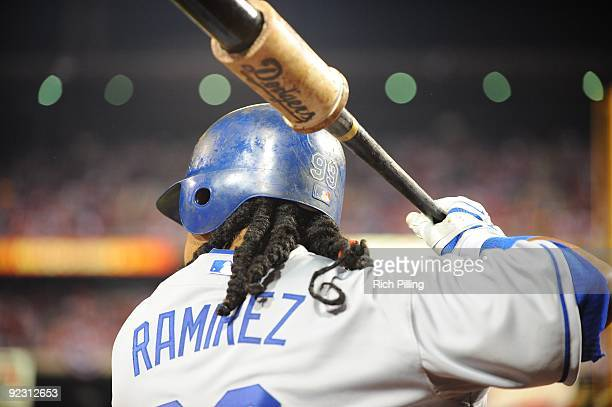 Manny Ramirez of the Los Angeles Dodgers is seen in the on deck circle during Game Five of the National League Championship Series against the...
