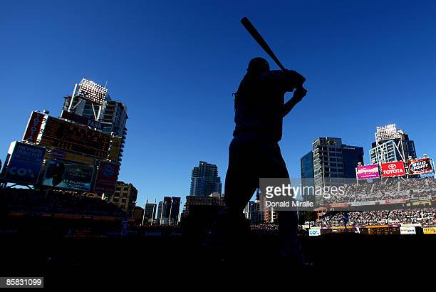 Manny Ramirez of the Los Angeles Dodgers prepares to bat against the San Diego Padres during their Opening Day game on April 6, 2009 at Petco Park in...