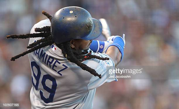 Manny Ramirez of the Los Angeles Dodgers singles in the second inning against the San Francisco Giants during an MLB game at ATT Park on June 28 2010...