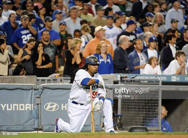 Manny Ramirez of the Los Angeles Dodgers waits on deck against the Colorado Rockies during the seventh inning on October 2 2009 in Los Angeles...