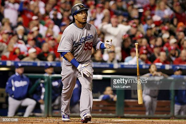 Manny Ramirez of the Los Angeles Dodgers watches his ball travel in the air during an at bat in the top of the fourth inning against of the...