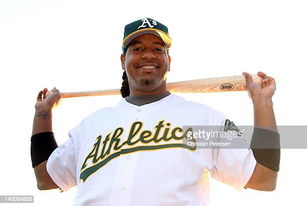 Manny Ramirez of the Oakland Athletics poses for a portrait during spring training photo day at Phoenix Municipal Stadium on February 27 2012 in...