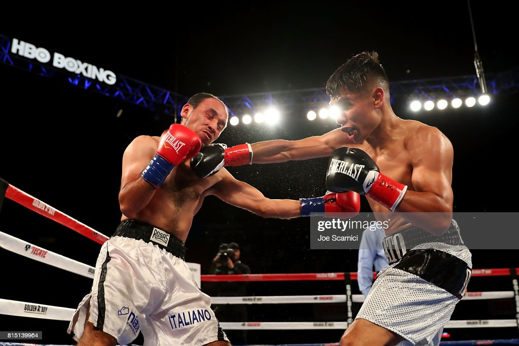 Manny Robles Jr. connects a right hook to Christian Esquivel in the second round at The Forum on July 15, 2017 in Inglewood, California.