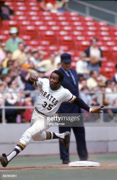 Manny Sanguillen of the Pittsburgh Pirates runs during an MLB game at Three Rivers Stadium in Pittsburgh Pennsylvania Manny Sanguillen played for the...