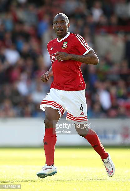 Manny Smith of Wrexham during the pre season friendly match between Wrexham and Stoke City at Racecourse Ground on July 22 2015 in Wrexham Wales