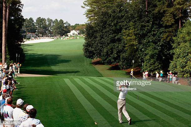 Manny Zerman plays the 18th hole at the Augusta National Course during the Masters Golf Tournament