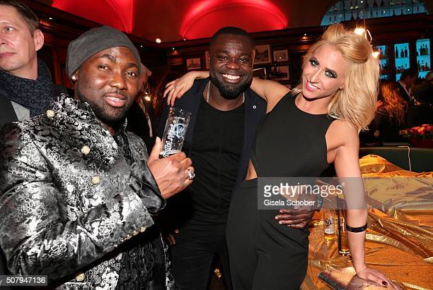 Mano Ezoh, Gerald Asamoah and Kathrin Menzinger during the Lambertz Monday Night 2016 at Alter Wartesaal on February 1, 2016 in Cologne, Germany.