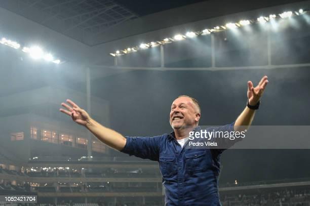 Mano Menezes coach of Cruzeiro celebrate after a match between Corinthians and Cruzeiro as part of Copa do Brasil 2018 Finals at Arena Corinthians...