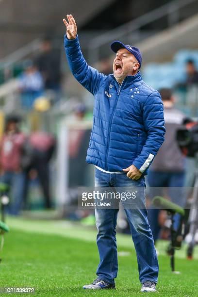 Mano Menezes coach of Cruzeiro during the match Gremio v Cruzeiro as part of Brasileirao Series A 2018 at Arena do Gremio on August 22 in Porto...