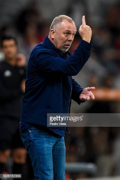 Mano Menezes coach of Cruzeiro gestures during a match between Cruzeiro and Flamengo as part of Copa CONMEBOL Libertadores 2018 at Mineirao stadium...