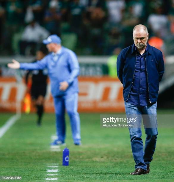 Mano Menezes head coach of Cruzeiro looks on during the match against Palmeiras for the Copa do Brasil 2018 at Allianz Parque Stadium on September 12...