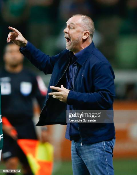 Mano Menezes head coach of Cruzeiro shouts instructions to his players during the match against Palmeiras for the Copa do Brasil 2018 at Allianz...