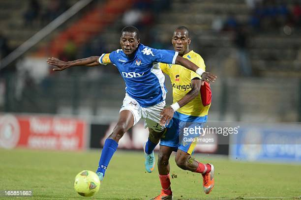 Mano of Petro de Luanda and Sibusiso Zuma of SuperSport during the CAF Confedaration Cup match between SuperSport United and Petro de Luanda at Lucas...