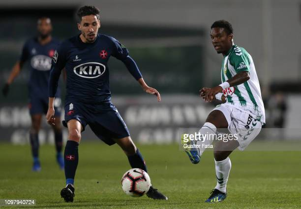 Mano of Vitoria FC with Lica of Belenenses SAD in action during the Liga NOS match between Vitoria FC and Belenenses SAD at Estadio do Bonfim on...