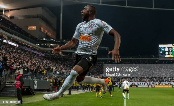 Manoel of Corinthians celebrates after scoring the first goal of his team during a match between Corinthians and Palmeiras for the Brasileirao Series...