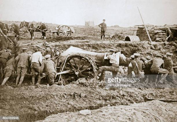 Manoeuvring a big gun in the mud Somme campaign France World War I 1916 Artist Unknown