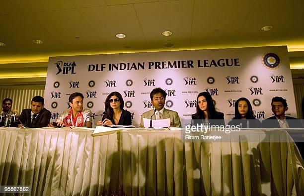 Manoj Badale of Mumbai Indians Ness Wadia coowner of Kings XI Punjab Shilpa Shetty owner of Rajasthan Royals Lalit Modi Chairman and Commissioner of...