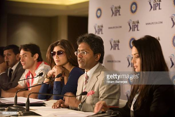 Manoj Badale of Mumbai Indians team coowner of Kings XI Punjab team Ness Wadia Shilpa Shetty coowner of Rajasthan Royals Commissioner and Chariman of...