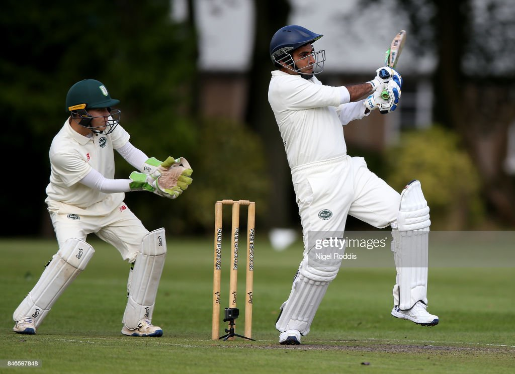 Manoj Oswal (R) of Team Jimmy during the Brut T20 Cricket match betweenTeam Jimmy and Team Joe at Worksop College on September 13, 2017 in Worksop, England.