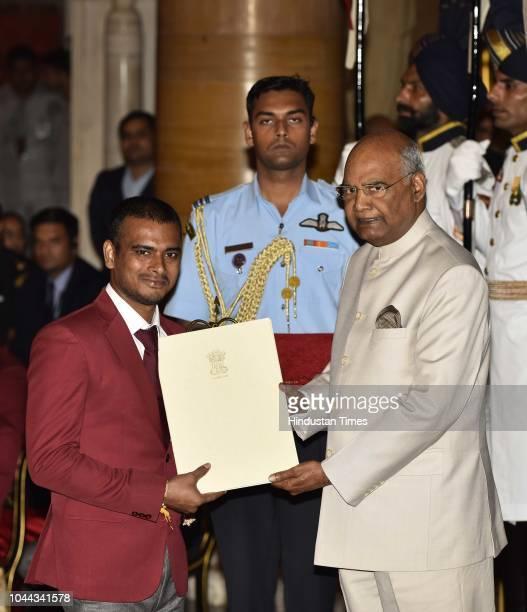 Manoj Sarkar receives Arjuna Award 2018 for his achievements in ParaBadminton from President Ram Nath Kovind at National Sports and Adventure Award...