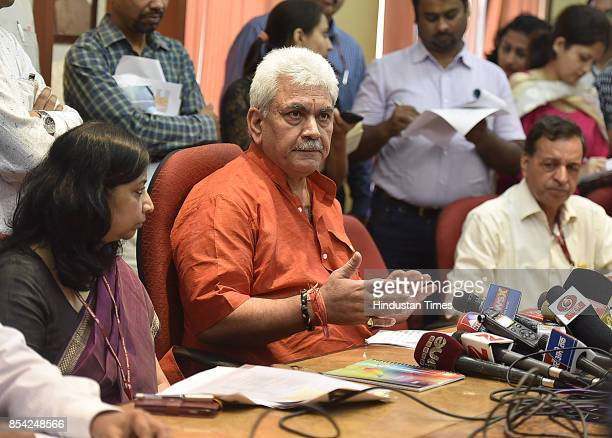 Manoj Sinha Minister of Communication addresses the media on the issue of 5G roll out by 2020 at Sanchar Bhawan on September 26 2017 in New Delhi...