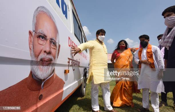 Manoj Tiwari inaugurates a medical van for Hindu refugees from Pakistan on the occasion of Prime Minister Narendra Modis 70th birth anniversary...