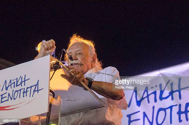 Manolis Glezos former Member of the European Parliament and WW2 resistance hero attends the rally Greek Left Wing Political Party Popular Unity...