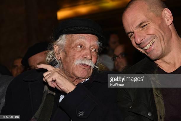 Manolis Glezos former MP for SYRIZA WW II Veteran and Yanis Varoufakis attend presentation of a book of Alternate Minister of Finance Nantia Valavani...