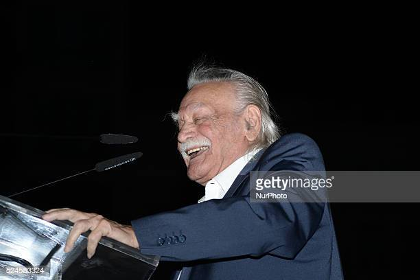 Manolis Glezos icon of the left top candidate of Popular Unity and Keynote Speaker during rally of the party of Popular Unity in Omonia Square in...