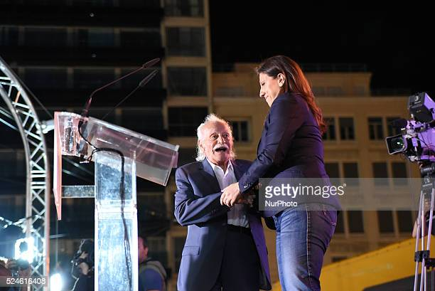 Manolis Glezos icon of the left top candidate of Popular Unity and Keynote Speaker during the rally of the party of Popular Unity in Omonia Square in...