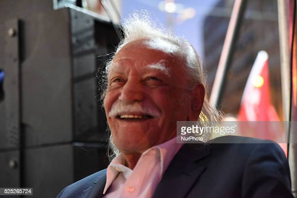 Manolis Glezos icon of the left top candidate of Popular Unity and Keynote Speaker before the rally of the party of Popular Unity in Omonia Square in...