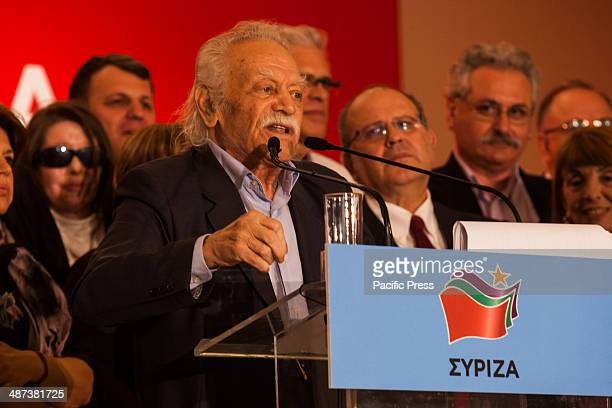 Manolis Glezos the flagship member of Syriza is seen giving a speech in front of the group of candidates of the party when Alexis Tsipras leader of...