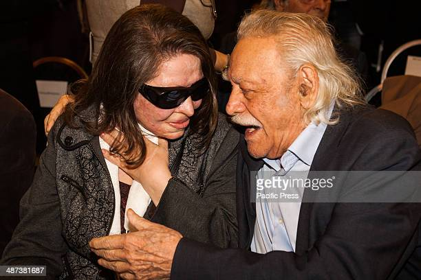 Manolis Glezos the flagship member of Syriza is seen talking with Konstantina Kouneva a candidate for the party when Alexis Tsipras leader of Syriza...