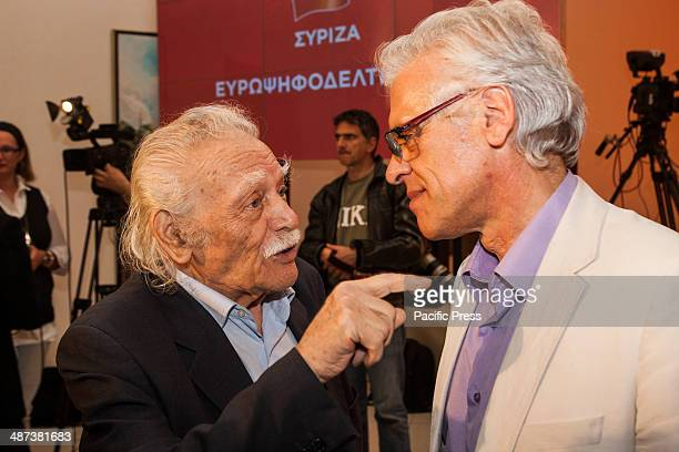 Manolis Glezos the flagship member of Syriza is seen talking with candidates and deputy of the party when Alexis Tsipras leader of Syriza in Greece...