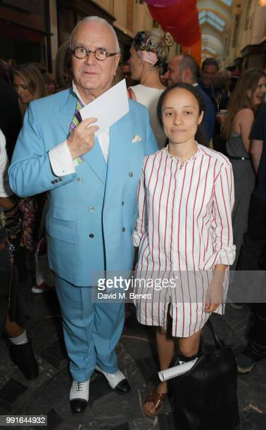 Manolo Blahnik and Grace Wales Bonner attend the Manolo Blahnik Colourful Garden Party at Burlington Arcade on July 4 2018 in London England