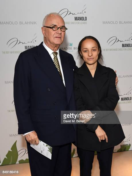 Manolo Blahnik and Grace Wales Bonner attend the screening of 'Manolo The Boy Who Made Shoes For Lizards' during London Fashion Week September 2017...