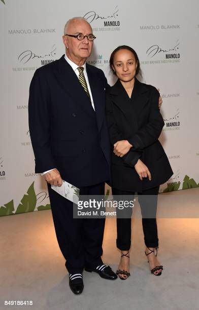 Manolo Blahnik and Grace Wales Bonner attend the screening of Manolo The Boy Who Made Shoes For Lizards during London Fashion Week September 2017 at...