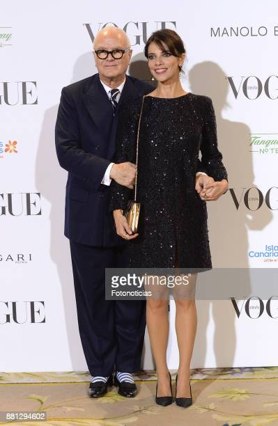 Manolo Blahnik and Maribel Verdu attend 'Manolo Blahnik El Arte Del Zapato' exhibition at the Ritz Hotel on November 28 2017 in Madrid Spain